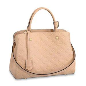 Louis Vuitton LV Women Montaigne MM Handbag Monogram Empreinte Leather-Pink