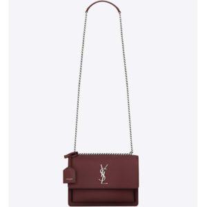 Saint Laurent YSL Medium Sunset Bag Calfskin Leather-Maroon