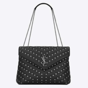 Saint Laurent YSL Women Loulou Medium Leather and Studs-Black