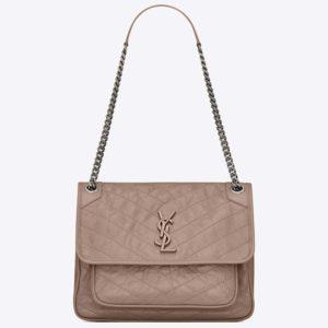 Saint Laurent YSL Women Medium Niki Bag Crinkled Vintage-Sandy