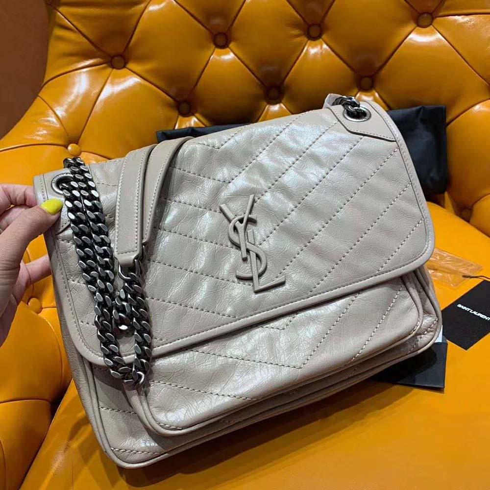 Saint Laurent YSL Women Medium Niki Bag Crinkled Vintage-Sandy - LULUX