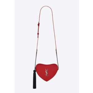Saint Laurent YSL Women Monogram Mini Heart-Shaped Bag-Red