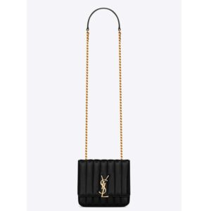 Saint Laurent YSL Women Shoulder Vicky Small Matelasse Lambskin-Black
