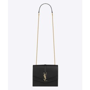 Saint Laurent YSL Women Sulpice Medium in Smooth Leather-Black