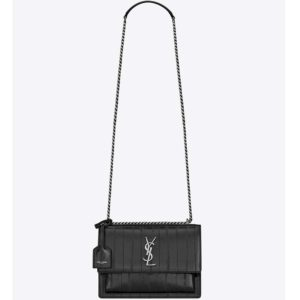 Saint Laurent YSL Women Sunset Medium in Eel-Black