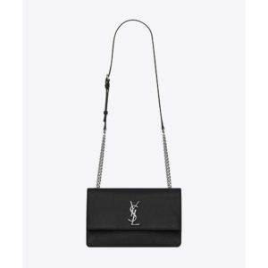 Saint Laurent YSL Women Sunset Medium in Grained Leather-Black
