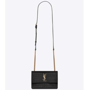 Saint Laurent YSL Women Sunset Small Supple Crocodile Embossed-Black