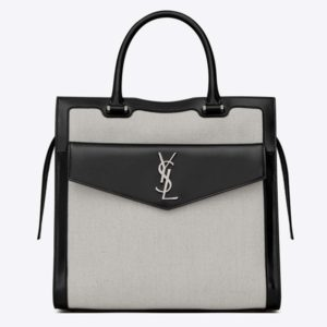 Saint Laurent YSL Women Uptown Large Tote in Linen Canvas