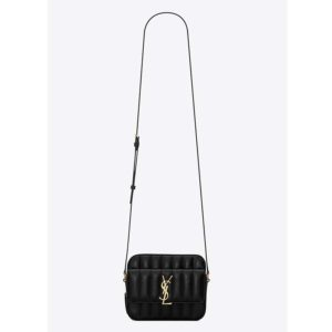 Saint Laurent YSL Women Vicky Camera Bag in Quilted Lambskin-Black
