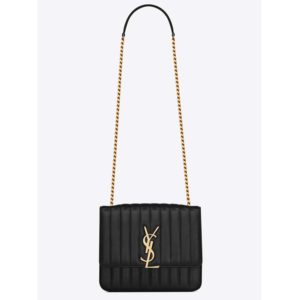 Saint Laurent YSL Women Vicky Large in Matelasse Lambskin-Black