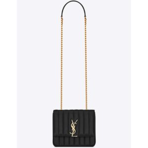 Saint Laurent YSL Women Vicky Medium in Matelasse Leather-Black