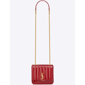 Saint Laurent YSL Women Vicky Small Matelasse Patent Leather-Red
