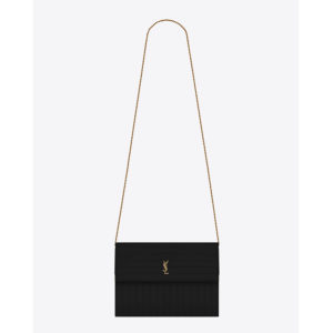 Saint Laurent YSL Women Victoire Chain Bag in Crinkled Leather-Black