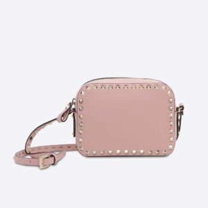 Valentino Garavani Rockstud Cross-Body Bag in Calfskin-Pink