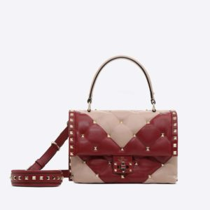 Valentino Women Candystud Handle Bag in Leather-Pink