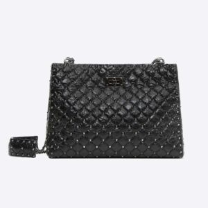 Valentino Women Cracked Lamb Spike Shoulder Bag-Black