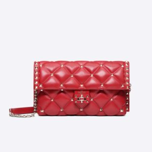 Valentino Women Quilted Candystud Crossbody Shoulder Bag-Red