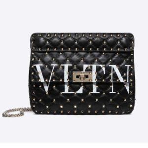 Valentino Women Rockstud Spike It Medium Chain Bag-Black