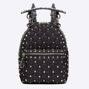 Valentino Women Rockstud Spike Mini Backpack in Nappa Leather-Black