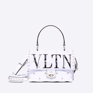 Valentino Women Rockstud Spike.it Medium Chain Bag in Leather-White