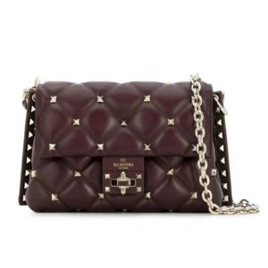 Valentino Women Small Candystud Chain Bag-Maroon