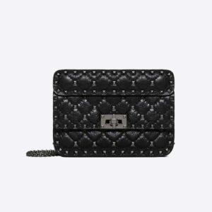 Valentino Women Small Crinkled Lambskin Rockstud Spike Bag-Black
