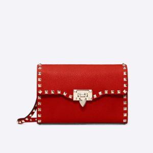 Valentino Women Small Rockstud Grainy Calfskin Crossbody Bag-Red
