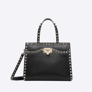 Valentino Women Small Rockstud Top Handle Bag-Black