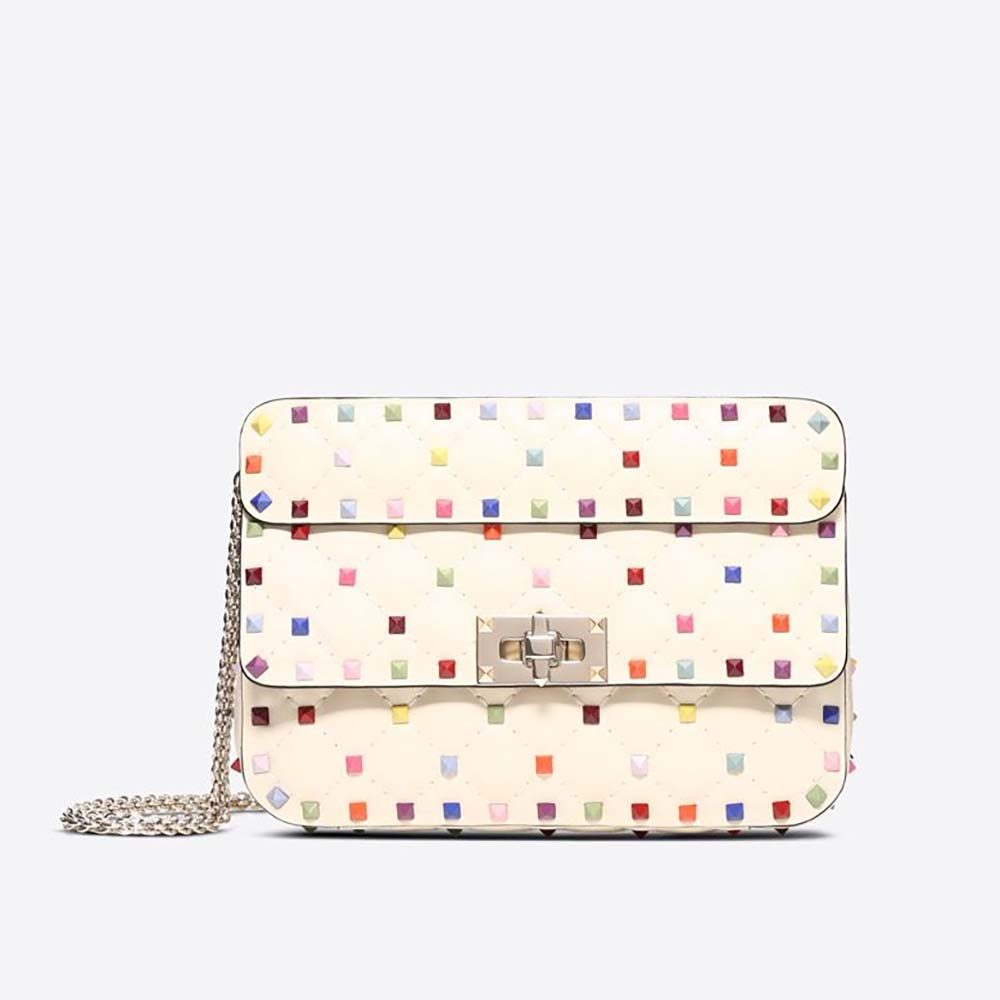 Valentino Women Rockstud Spike Small Chain Bag in Quilted Leather-White