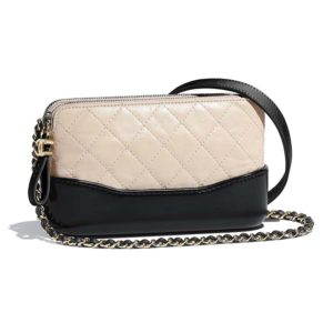 Chanel Women Clutch with Chain Aged Smooth Calfskin Beige & Black