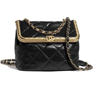Chanel Women Kiss-Lock Bag Lambskin & Gold-Tone Metal-Black