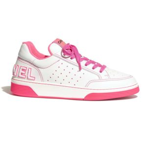 Chanel Women Sneakers Calfskin White & Fuchsia