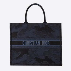 Dior Women Dior Book Tote Camouflage Embroidery Christian Dior' Signature-Navy