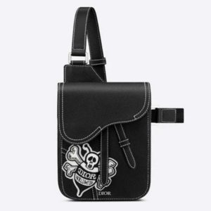 Dior Unisex Saddle Pouch Black Grained Calfskin Bee Patch Embroidery
