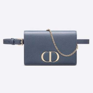Dior Women 30 Montaigne 2-in-1 Pouch Grained Calfskin Leather-Blue