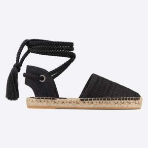 Dior Women Dior Granville Espadrille Laces Oblique Embroidered Cotton-Black