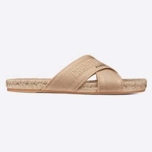 Dior Women Dior Granville Slide Cream Embroidered Cotton-Sandy