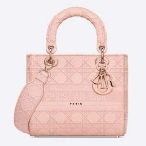 Dior Women Medium Lady D-Lite Bag Cannage Embroidery-Pink