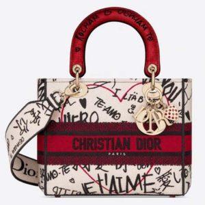 Dior Women Medium Lady D-Lite Dioramour Bag Latte Multicolor Graffiti Embroidery