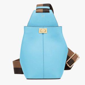 Fendi Unisex Guitar One-Shoulder Bag Lilac Leather Mini-Bag Pequin Motif-Aqua