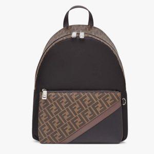 Fendi Unisex Large Backpack Front Pocket Black Nylon Backpack FF Motif