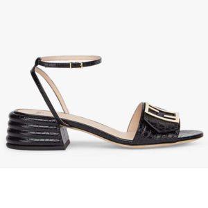 Fendi Women Black Leather Sandals FF Baguette Metal Buckle