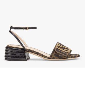 Fendi Women Brown Fabric Sandals FF Baguette Metal Buckle