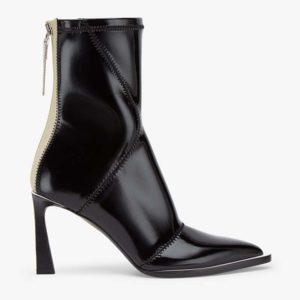 Fendi Women Glossy Black Neoprene Ankle Boots FFrame Pointed-Toe