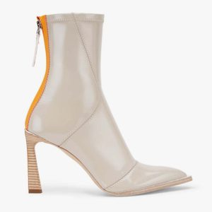 Fendi Women Glossy Gray Neoprene Ankle Boots FFrame Pointed-Toe