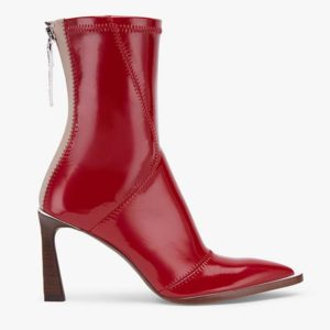 Fendi Women Glossy Red Neoprene Ankle Boots FFrame Pointed-Toe