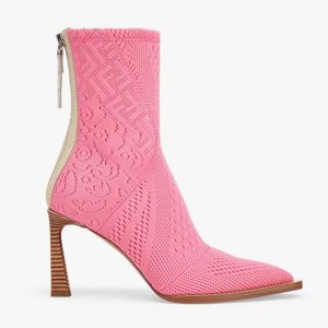 Fendi Women High-Tech Rose Jacquard Ankle Boots FFrame Pointed-Toe