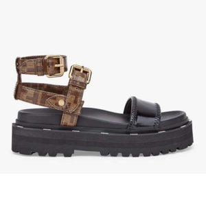 Fendi Women Sandals in Glossy Black Neoprene Jacquard FF Motif