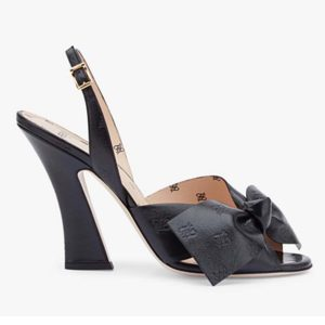Fendi Women Slingback Sandals Wide Strap Maxi Bow Black Leather