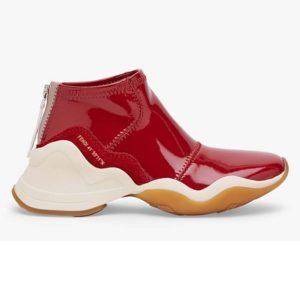 Fendi Women Sneakers Snug-Fit FFluid Sneakers Glossy Red Neoprene